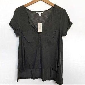 American Eagle Outfitters Gray Button Down Tee
